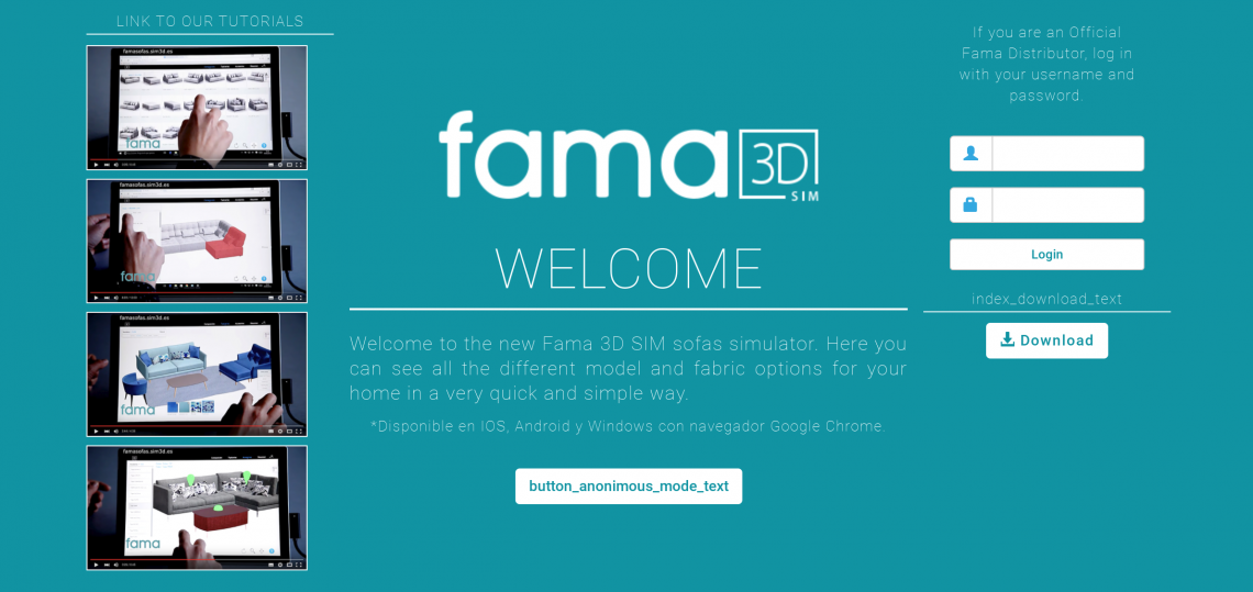 Fama 3d simulator welcome page