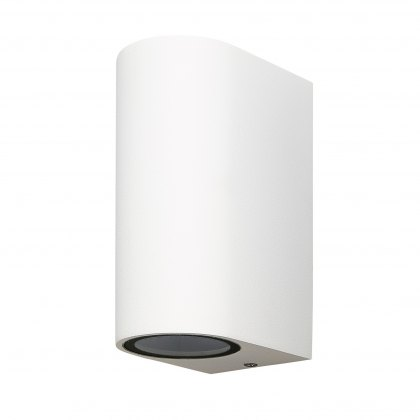 Zamora Coastal Twin Round white wall light