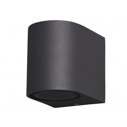 Zamora Coastal Single Round anthricite wall light