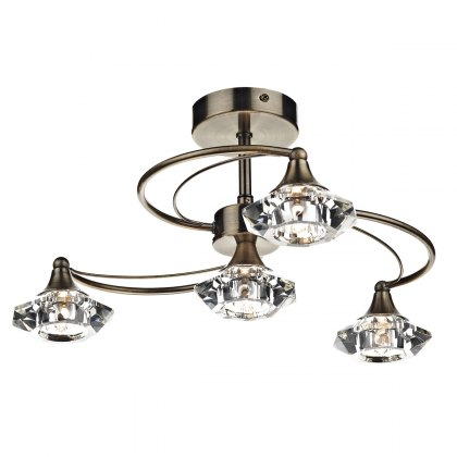Kendal 4 antique brass semi flush pendant light