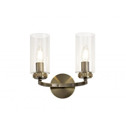 Domecelle Antique Brass Double Wall Light