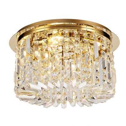Zahara 5 french gold crystal flush light