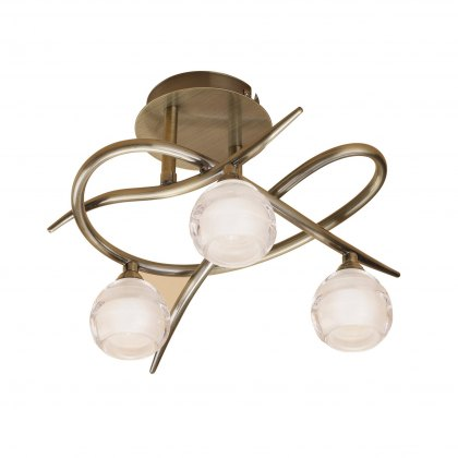 Palacio Three antique brass semi flush light