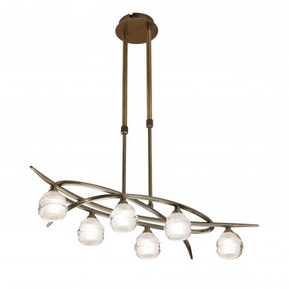 Palacio Six antique brass semi flush light