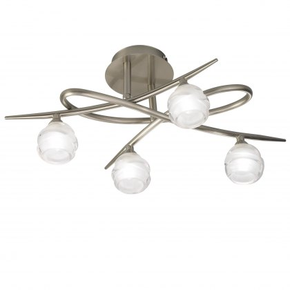 Palacio Four satin nickel semi flush light
