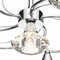 Kendal 6 chrome semi flush pendant light