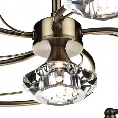 Kendal 6 antique brass semi flush pendant light