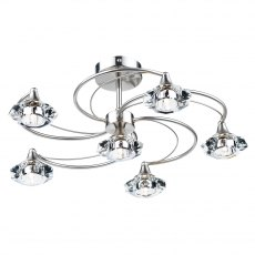 Kendal 6 satin chrome semi flush pendant light