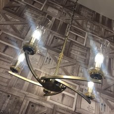 Domecelle Antique Brass 5 Light Pendant Ceiling Light