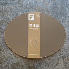 Reversible placemat oval taupe/cream