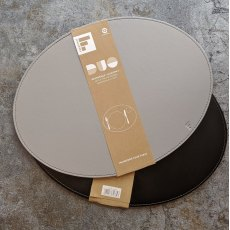 Reversible placemat oval grey/black