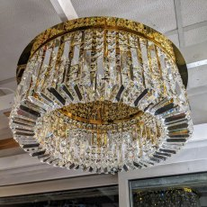Zahara 8 french gold crystal flush light