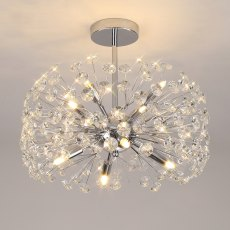 Barcelona 8 chrome crystal semi flush light