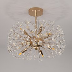 Barcelona 8 french gold crystal semi flush light