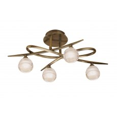 Palacio Four antique brass semi flush light