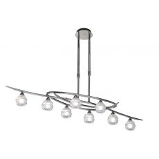 Palacio Eight chrome semi flush light
