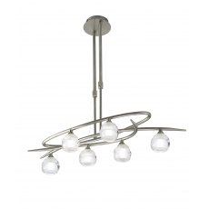 Palacio Six satin nickel semi flush light