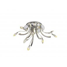 Catrine Crystal Chrome Small Semi Flush Pendant Light
