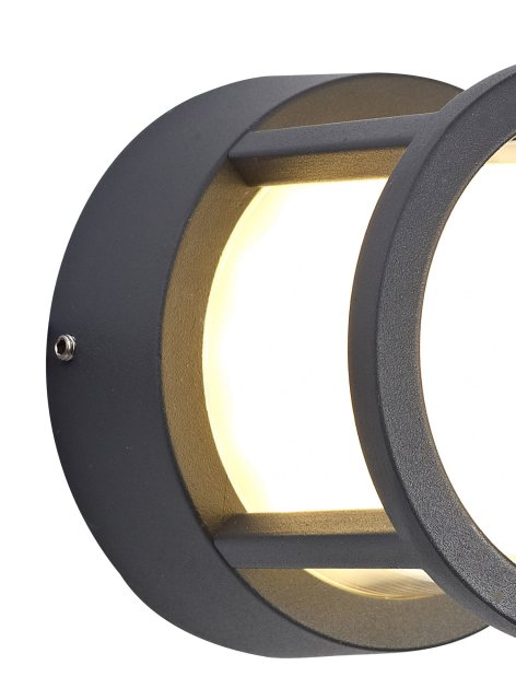 Julia Jones Raspay Coastal outdoor anthracite round wall light