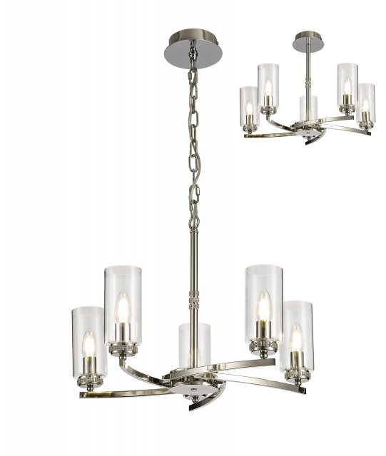 Julia Jones Domecelle Nickel 5 Light Pendant Ceiling Light