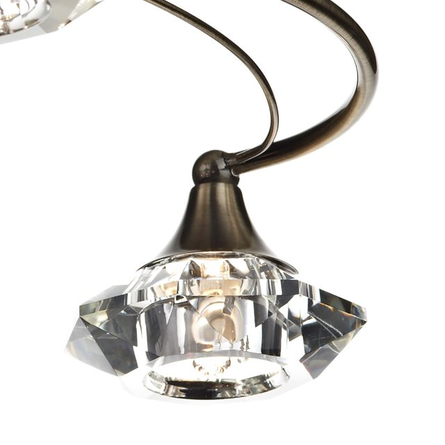 Julia Jones Kendal 4 antique brass semi flush pendant light