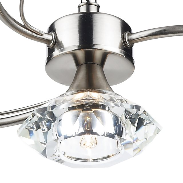 Julia Jones Kendal 4 satin chrome semi flush pendant light