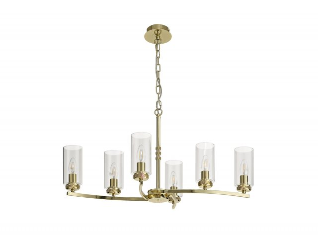 Julia Jones Domecelle Gold 6 Light Pendant Ceiling Light