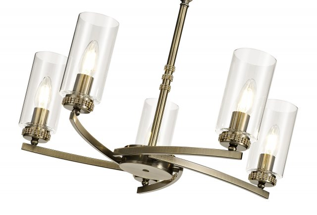 Julia Jones Domecelle Antique Brass 5 Light Pendant Ceiling Light