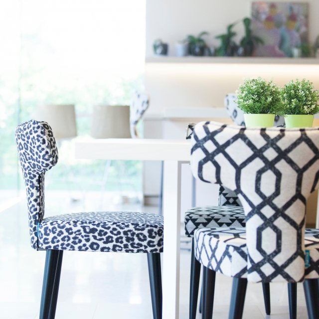 Patterned dining chair
