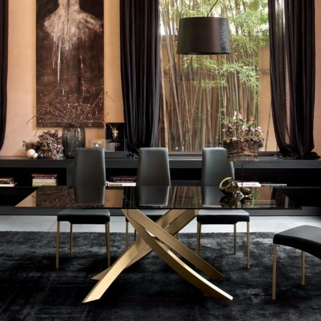 Bontempi fixed glass dining table