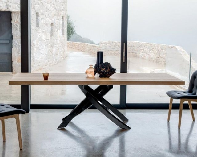 Bontempi Artistico fixed wood dining table