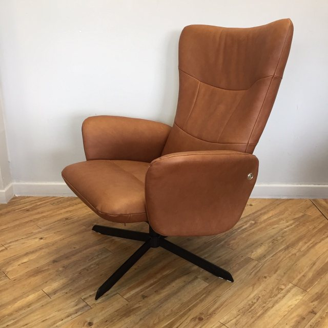 Real leather recliner chair