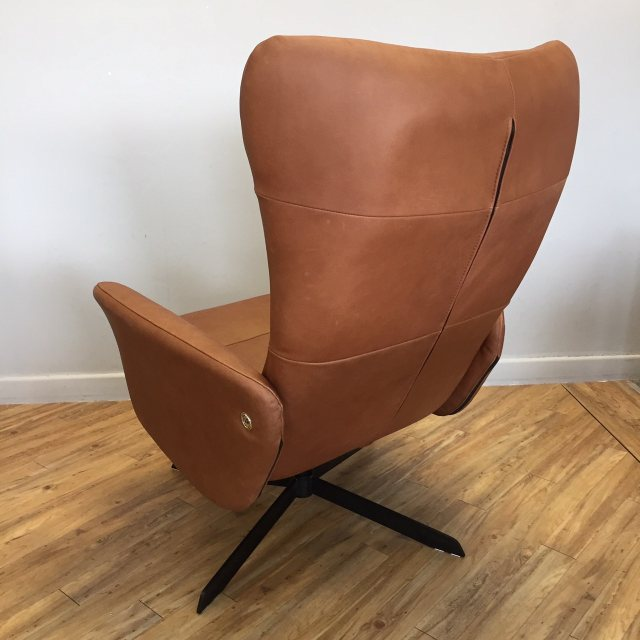 Real leather swivel chair