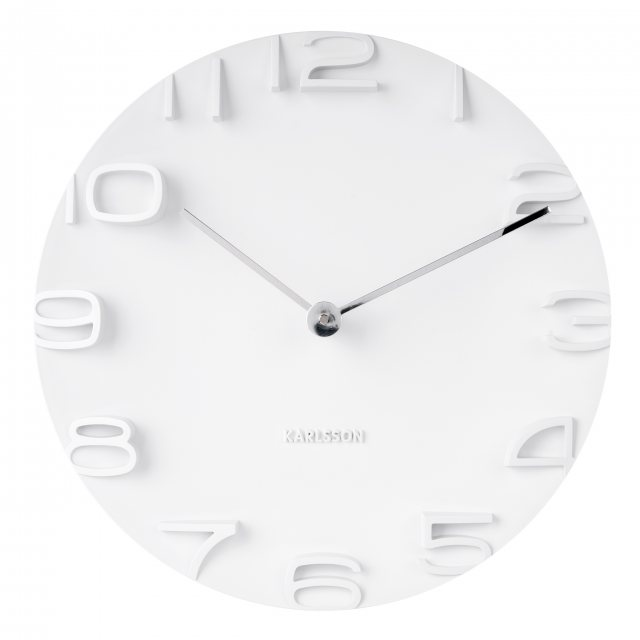 White 3d wall clock