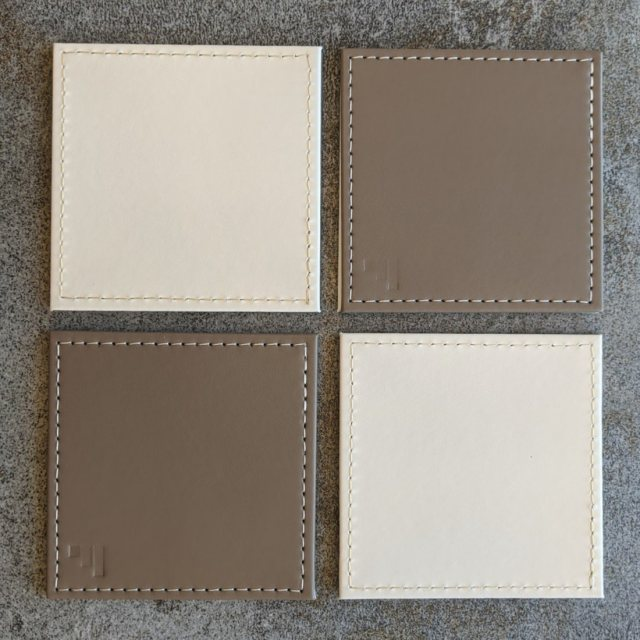 Reversible costers taupe/cream