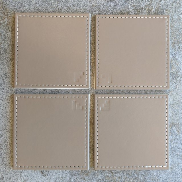 Taupe faux leather coasters