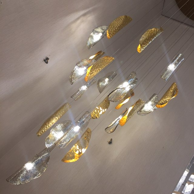 Large gold cluster pendant with 5mtr drop