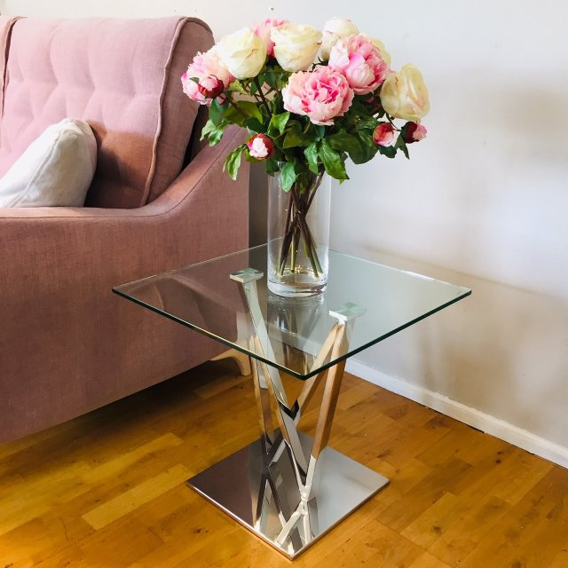 Contemporary glass and polished chrome side table