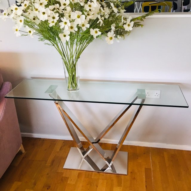 Contemporary glass and polished chrome console table