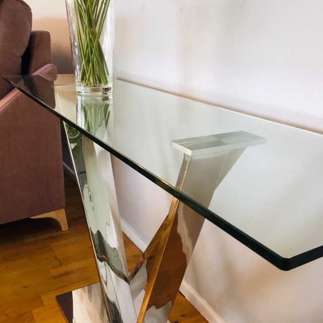Stirling glass console table