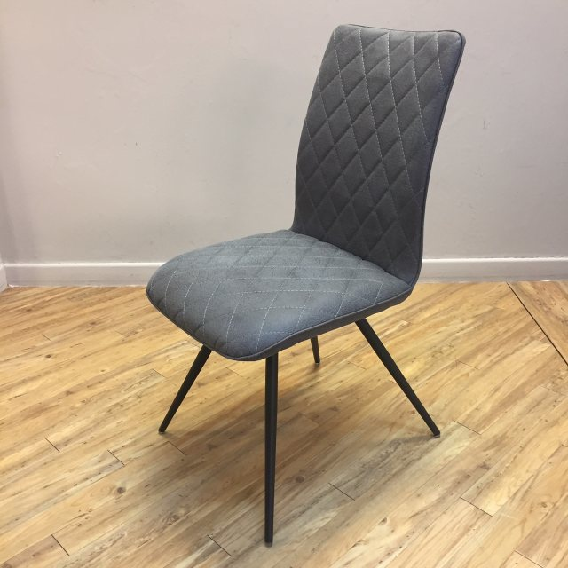 Faux leather dining chair in grey