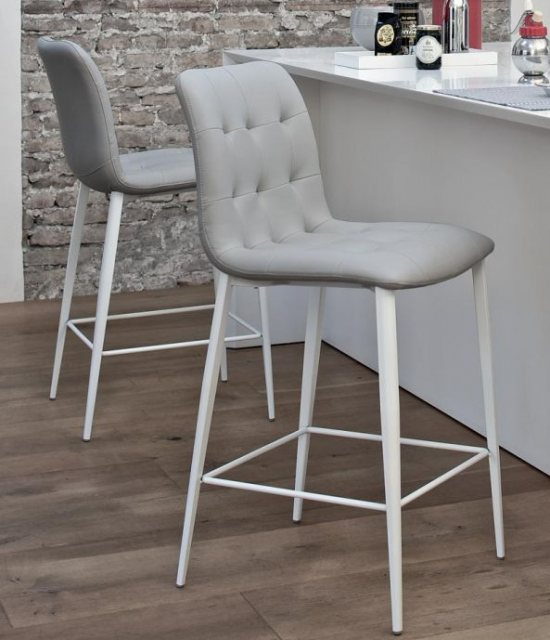 Bontempi grey leather Kuga fixed low barstool