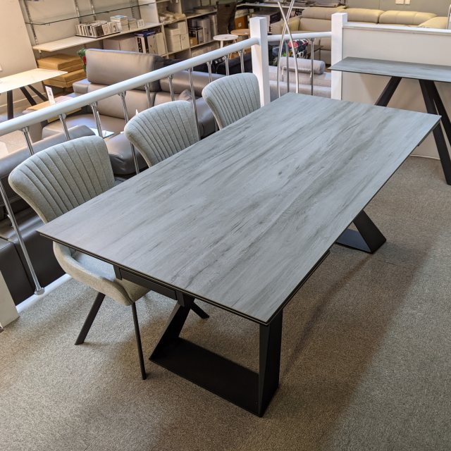 Athens grey wood ceramic dining table 6-10 seater