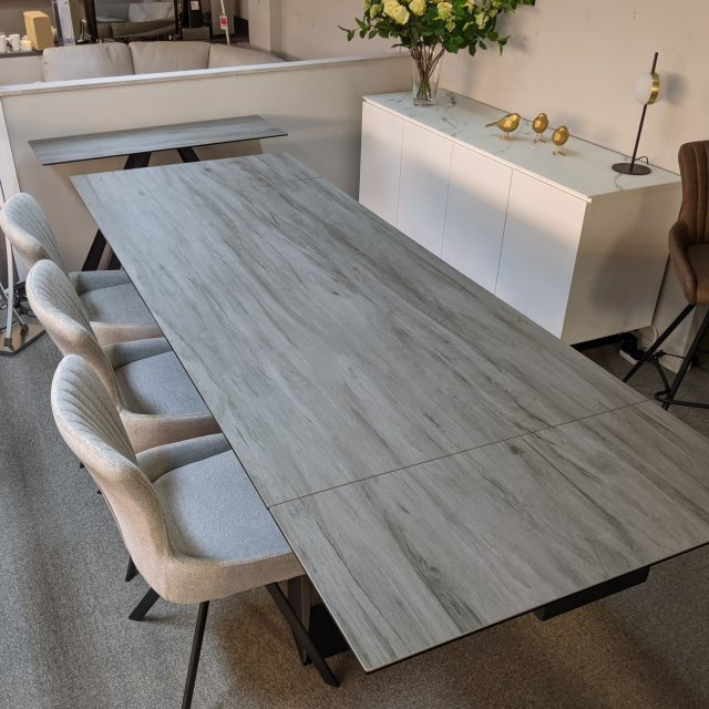 Grey ceramic dining table