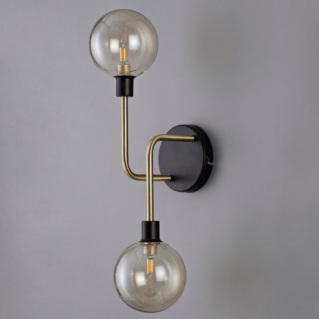 brass & black globe wall light