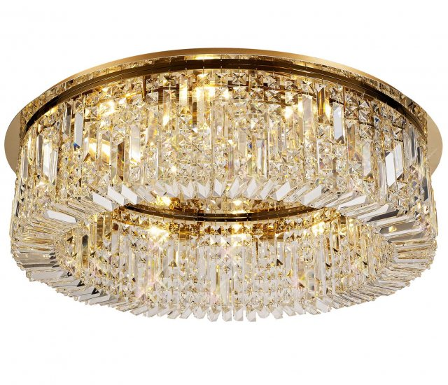 French gold crystal flush light