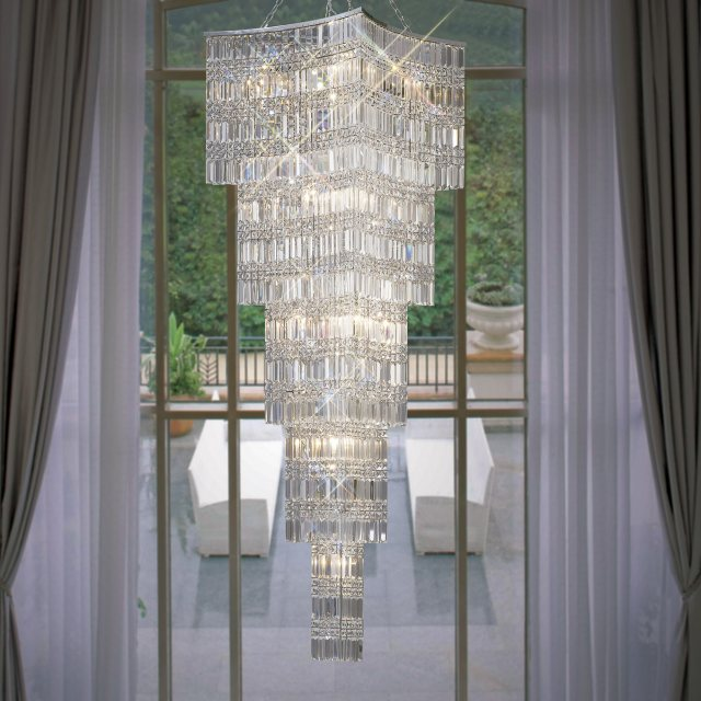 Large crystal stairwell chandelier