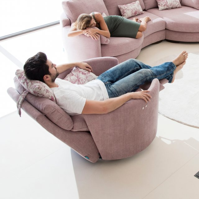 Compact swivel recliner armchair