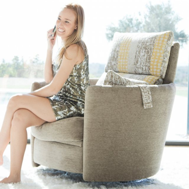 Fabric swivel armchair