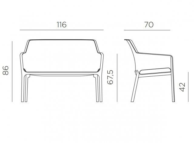 Nardi Net outdoor bench dimensions